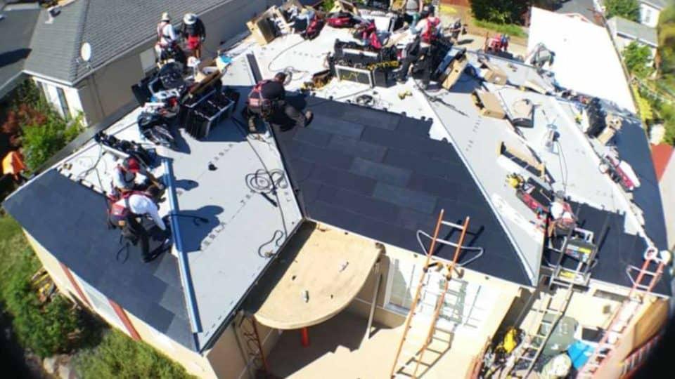 Tesla Solar Roof Install Day 1 - Noon